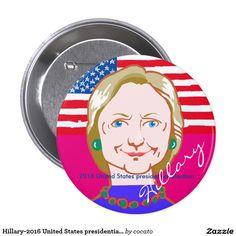 Hillary-2016 United States presidential election 7.6cm 丸型バッジ