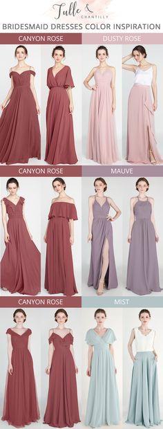 canyon rose inspired wedding color combination ideas with bridesmaid dresses 2019 #wedding #weddinginspiration #bridesmaids #bridesmaiddress #bridalparty #maidofhonor #weddingideas #weddingcolors #tulleandchantilly