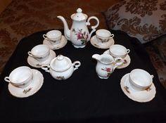 15 Piece Tea Set Pitcher Creamer Sugar Bowl and 6 Cups with Saucers Japan