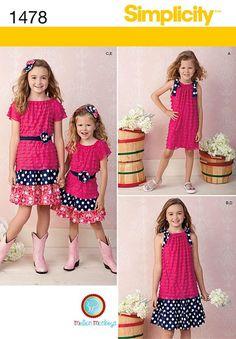 Girls Dresses Sewing, Sewing Patterns Girls, Simplicity Sewing Patterns, Cute Pattern, Top Pattern, Girl Top Dress, Monkeys, Knit Dress, Enlarge Photos