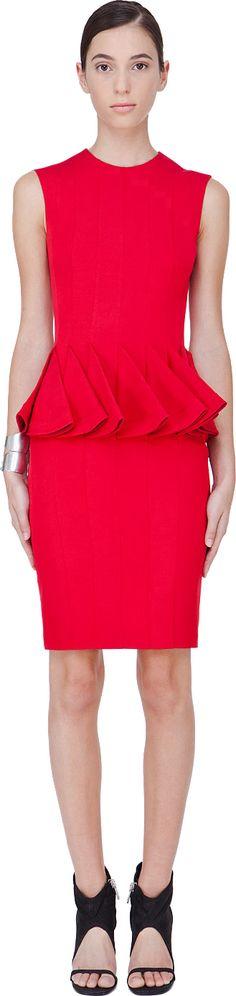 Hakaan - Red Ginea Peplum Dress