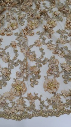 Gold lace fabric, beaded luxury 3D lace fabric, hand beaded high quality gold French chantilly lace fabric, sold by the yard