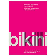 $36 Bikini Kill, 1993 17x23.75  by Swissted by Stereotype Graphic designer Mike Joyce started Swissted to fuse his love of punk rock and Swiss modernism. He reimagines vintage punk, hardcore, alternative and indie rock show fliers as International Typographic Style posters—but all of these shows really happened.
