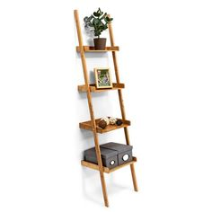 Are you looking for anaesthetically-pleasing way to organise your clutter? This charming and decorative ladder shelf is just the thing for you! This modern wall-leaning storage unit with 4 shelves will match any surroundings and the natural bamboo material is especially resistant to moisture and humidity so it can also be kept in the bathroom. The 4 shelves get smaller as they go up and the lovely wood grain pattern matches any other home decor. Small ridges on the sides and back of each…