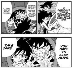 Gine and Bardock sending off Goku