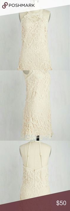 👗SALE👗ModCloth Lace dress fits like a Med. This elegant lace halter dress is perfect for any special occasion . New never been worn! The dress runs small and fits more like a med. ModCloth Dresses Midi