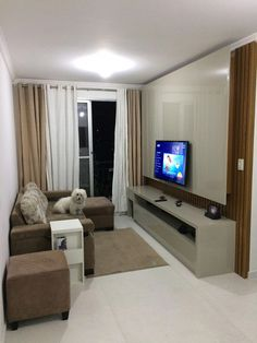 New Living Room Tv Wall Modern Design Layout Ideas Narrow Living Room, Living Room Modern, Rugs In Living Room, Condo Living, Living Room Decor Colors, Living Room Designs, Condo Interior Design, Small Apartments, Decoration