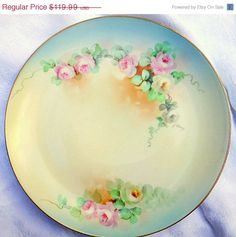"""HURRY ON SALE Ginori 9"""" plate Antique Italy handpainted, signed decorative porcelain"""