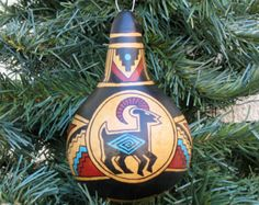 Hand Painted Gourd and Ceramic Ornaments by AChristmasbyCarol
