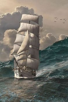 Lindo marine life – Famous Last Words Old Sailing Ships, Sailing Boat, Full Sail, Ship Paintings, Stormy Sea, Wooden Ship, Sail Away, Ship Art, Tall Ships