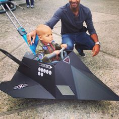 Toddler DIY toddler Halloween costume idea - stealth jet fighter pilot. Daddy went all out & 15 Halloween Costumes to Make From a Cardboard Box | Pinterest ...