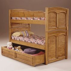 Wyatt's Room!  American Woodcrafters Cottage Traditions Bunk Bedroom Set in Sandstone 6500-PanelC - Bunk Beds - Beds