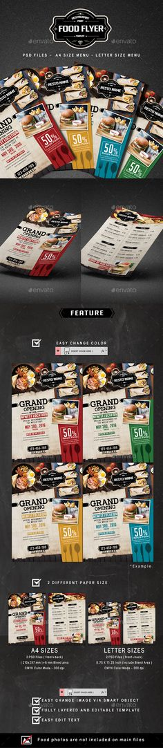 Food Flyer - #Restaurant Flyers Download here: https://graphicriver.net/item/food-flyer/16792496?ref=classicdesignp