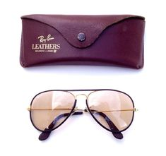 7271140021ba Vintage Ray Ban Bausch Lomb B L 58 14 LEATHERS CHANGEABLE PHOTOCHROMIC  Aviators. Vintage Sunglasses ...