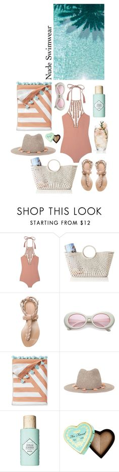 """Nude & azure"" by babyou ❤ liked on Polyvore featuring Acacia Swimwear, Mark & Graham, Isabel Marant, Serena & Lily, Miss Selfridge, Benefit and Too Faced Cosmetics"