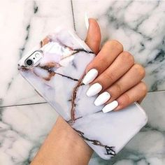 Phone cover: marble marmol iphone case iphone 6 case (I want the nails and phone case Cute Cases, Cute Phone Cases, Apple Coque, White Acrylic Nails, Marble Nails, White Nails, Accessoires Iphone, Coque Iphone 6, Phone Cases Marble