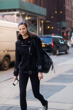 Anja Leuenberger wearing #AcneStudios Velocite oversized shearling jacket at New York Fashion Week #NYFW