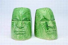 Pair of Crown Lynn Wharetana Maori art pottery 'Moko' bookends, jade green glazed ceramic representations of ceremonial life sized wooden masks, which were hollowed out to allow fitting over the head (shape number Tiki Decor, Art Decor, Rare Wine, Jad, Maori Art, Head Shapes, Glazed Ceramic, Teaching Art