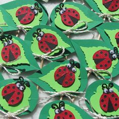 Ladybugs on a Leaf Cupcake Toppers