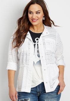 25bf1b2c90 Plus size eyelet jacket with cinch waist
