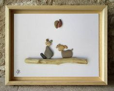 Pebble Art Cat and Dog sitting on driftwood, with Yin-Yang symbol -Unique Gift -Custom Gift- Housewarming Gift Handmade in France - 18x24cm