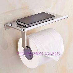 Stainless Steel Tissue Paper Holder & Mobile Phone Shelf Set Wall Mount