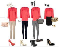 4 opciones para combinar una hermosa blusa color salmon...el color de la temporada