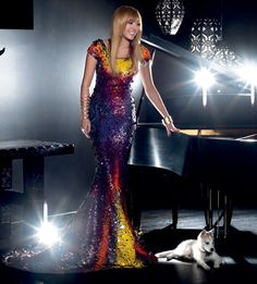 Miley Cyrus in Lloyd Klein Couture Sequin Gown for Prestige Asia