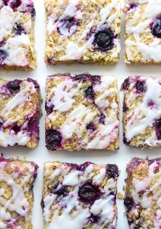 Sweet and chewy Blueberry Coconut Oat Squares - made with easy to source gluten free ingredients and topped with a lemon glaze I've had a serious revival in my love for blueberries lately. Throw them in Cookie Recipes, Snack Recipes, Dessert Recipes, Breakfast Recipes, Dessert Ideas, Breakfast Ideas, Gluten Free Desserts, Vegan Gluten Free, Dairy Free