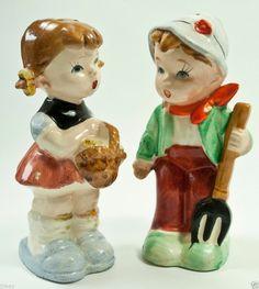 vintage LITTLE FARM BOY & GIRL ceramic SALT & PEPPER SHAKERS Artmark? Napco?