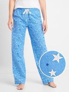 Gap Womens Print Flannel Sleep Pants Blue Star