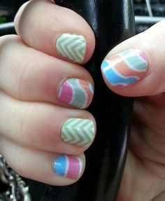 Fruit Sorbet is July's Sister's Style Exclusive! I LOVE these!   This Jamberry Nails combo is Mint Chevron and Fruit Sorbet