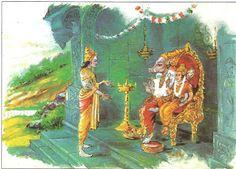 The Trios and the saints  tried to convince the truth to Lakshmi Devi .But she did not hear it. She set out for Kollapuram and began penance                                                   Sri Maha Vishnu reaches Varaha Mountain
