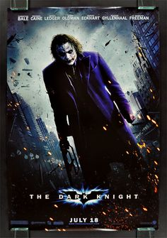The Dark Knight - probably the best superhero movie ever made, partly because of Heath Ledger's INCREDIBLE performance as the The Joker.