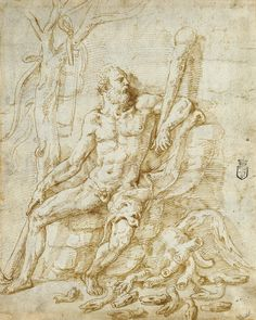 Hercules Resting after Killing the Hydra; Giulio Romano (Giulio Pippi) (Italian, before 1499 - 1546); Italy; about 1535; Pen and brown ink (recto); Black chalk, incised for transfer (verso).