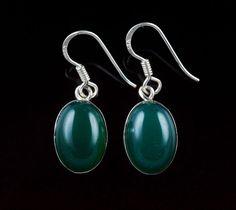 925 Sterling Silver Natural Green Onyx Gemstone Handmade Earrings Jewelry #Handmade #DropDangle #Party