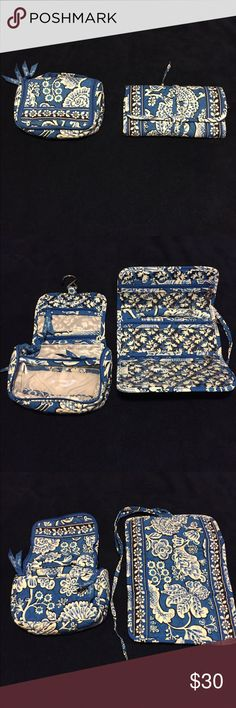 Vera Bradley travel accessories in Blue Bayou Like new! Two pieces, both designed to keep you traveling in style.  Mini hanging travel organizer has clear plastic zipper pouches and pockets to keep everything right in front of you. Great for travel size bottles and other toiletries, this one comes complete with a built-in hanger to preserve vanity counter space.      Use the fold-up organizer for makeup, or to keep other travel items organized.   Both are like new and Blue Bayou pattern…