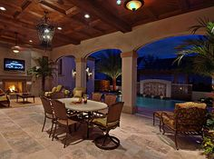 This can connect to dining room and kitchen with huge wide sliding glass door. interior Patio with pool, spanish style house Outside Living, Outdoor Living Areas, Outdoor Rooms, Outdoor Decor, Outdoor Kitchens, Living Spaces, Indoor Outdoor, Outdoor Dining, Outdoor Ideas