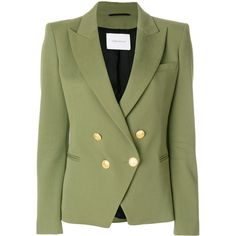 Pierre Balmain Cotton Blazer (33 670 UAH) ❤ liked on Polyvore featuring outerwear, jackets, blazers, kaki, cotton jacket, cotton double breasted blazer, green blazers, double breasted jacket and double-breasted blazers