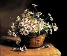 Sergei Tutunov: Basket of daisies