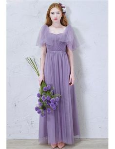 Modest A-Line Sweetheart Floor-Length Tulle Bridesmaid Dress With Ruffles