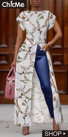 Mode Chain Print Short Sleeve Slit Irregular Blouse When Will The World Wake Up? African Fashion Ankara, Latest African Fashion Dresses, African Dresses For Women, African Print Dresses, African Print Fashion, African Attire, African Women Fashion, Modern African Dresses, Dressy Outfits