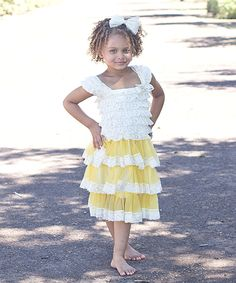 Another great find on #zulily! Just Couture Cream & Mustard Ruffle Cap-Sleeve Dress - Infant, Toddler & Girls by Just Couture #zulilyfinds