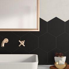 Tessile Hex x Porcelain Field Tile Color: Matte Black Black Tile Bathrooms, Hexagon Tile Bathroom, Black Hexagon Tile, Hexagon Backsplash, Black Tiles, Hexagon Tiles, Bathroom Flooring, Black Bathroom Floor, Vinyl Flooring