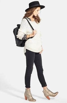 Hinge Bouclé Knit Crewneck Sweater, Henley Top and Treasure&Bond Destroyed Leggings  available at #Nordstrom