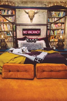 'No Vacancy' Neon sign in the home of Birmingham artist Matt Underwood decorated by designer Barri Thompson