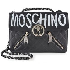 Moschino Graffiti Bag ($1,455) ❤ liked on Polyvore featuring bags, handbags, black, chain handle handbags, genuine leather handbags, leather purses, moschino purse and moschino