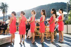 bridesmaids pink dresses courtyard wedding ceremony laguna beach