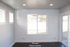 The Shiplap on this dining room wall adds the perfect accent wall. Luxury Packaging, Dining Room Walls, Home Pictures, House Plans, New Homes, Floor Plans, Windows, Flooring, How To Plan