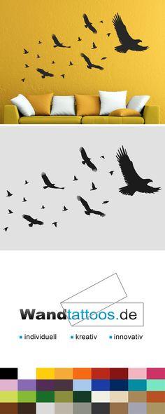 Wandtattoo Vögel als Idee zur individuellen Wandgestaltung. Einfach Lieblingsfarbe und Größe auswählen. Weitere kreative Anregungen von Wandtattoos.de hier entdecken!